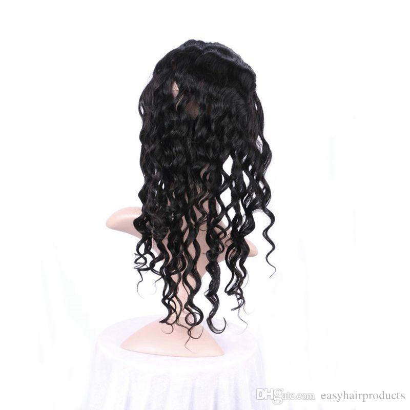 Peruanische Pre Gezupfte 360 Spitze Frontal mit 3 Bundles Lose Welle Haar Volle 4 Teile / los Unverarbeitete Menschenhaarverlängerungen
