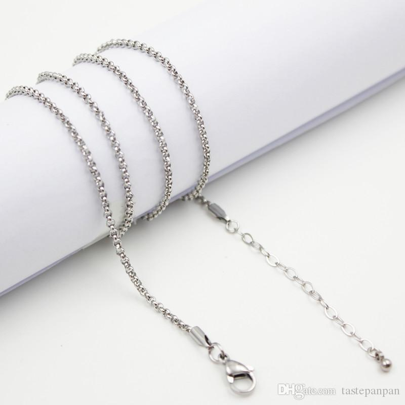 """Panpan support for blending! 24""""+2"""" inches 2.4width Stainless steel silver rolo chain for floating locketno locket"""