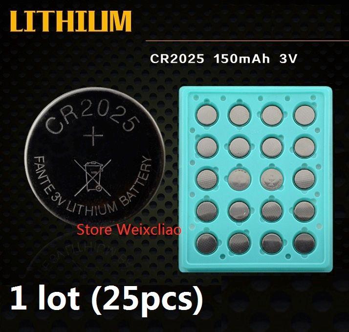 CR2025 3V 리튬 이온 버튼 셀 배터리 CR 2025 3 볼트 리튬 이온 배터리 트레이 패키지 무료 배송