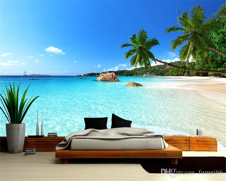 Benutzerdefinierte 3D Fototapete Seascape Beach Palm Wandverkleidung Roll Für Wohnzimmer Schlafzimmer Hintergrund De Parede
