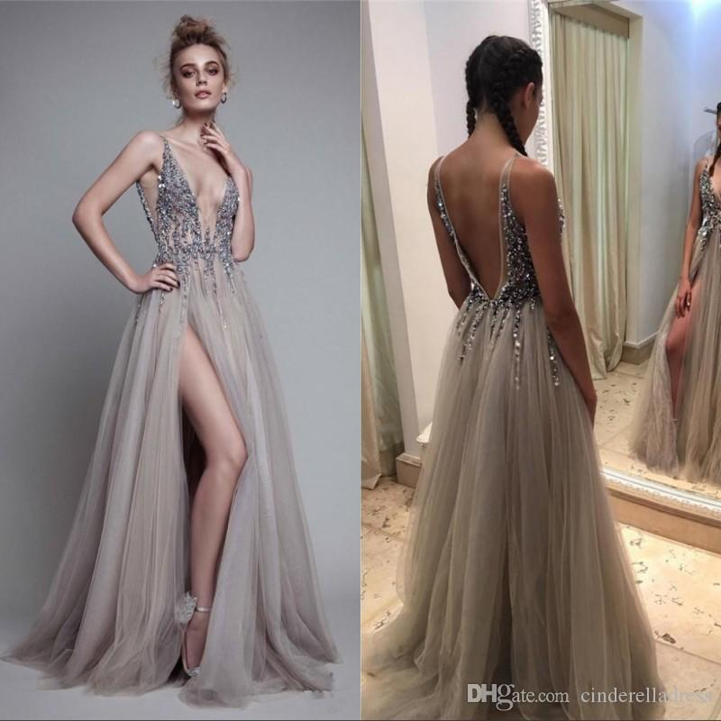 Paolo Sebastia Sexy Beads Thigh Split Prom Dresses Plunging Neckline  Appliques Backless Evening Gowns Floor Length Tulle Evening Party Dress  Lace Prom ... 5fa6e8ca9516
