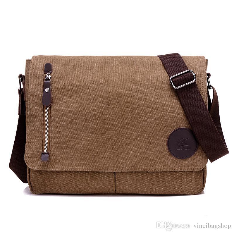 Großhandel Männer Vintage Canvas Messenger Bag 14 Zoll Laptop Tasche Satchel  Einzelne Schulter Crossbody Sling Bag C069 Von Vincibagshop a9f58652e6e65