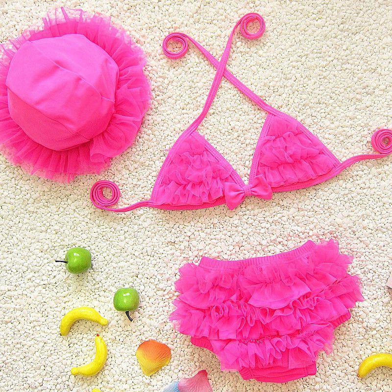 2017 Japanese Korean style Children Infant lace Bikini Swimwear Baby Girl Lovely Three-piece Swimsuit Small Medium Large Swimsuits k500
