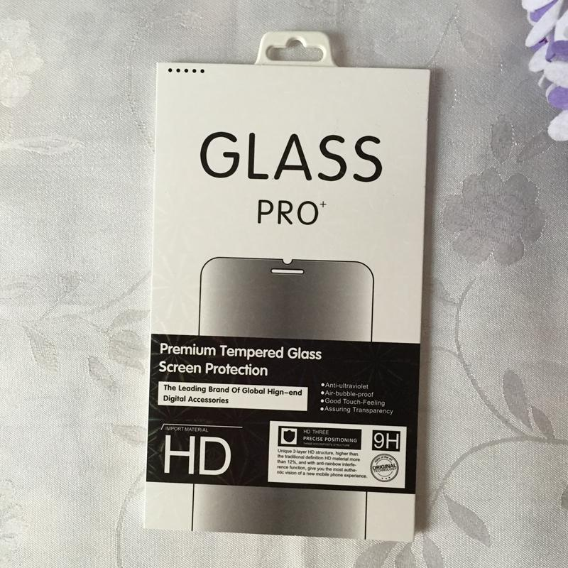 Mode Einzelhandel Box Paket Paper + Plastic Box Verpackung Für Premium Gehärtetes Glas Screen Protector Film + Hängen Loch 2018 Neue Tasche