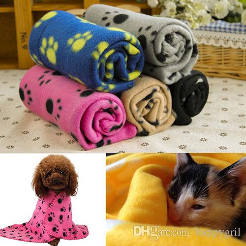 Hot Pet Cat Kitten Dog Puppy Winter Warm Handcrafted Fleece Soft Blanket Beds Mat Cover Paw Print
