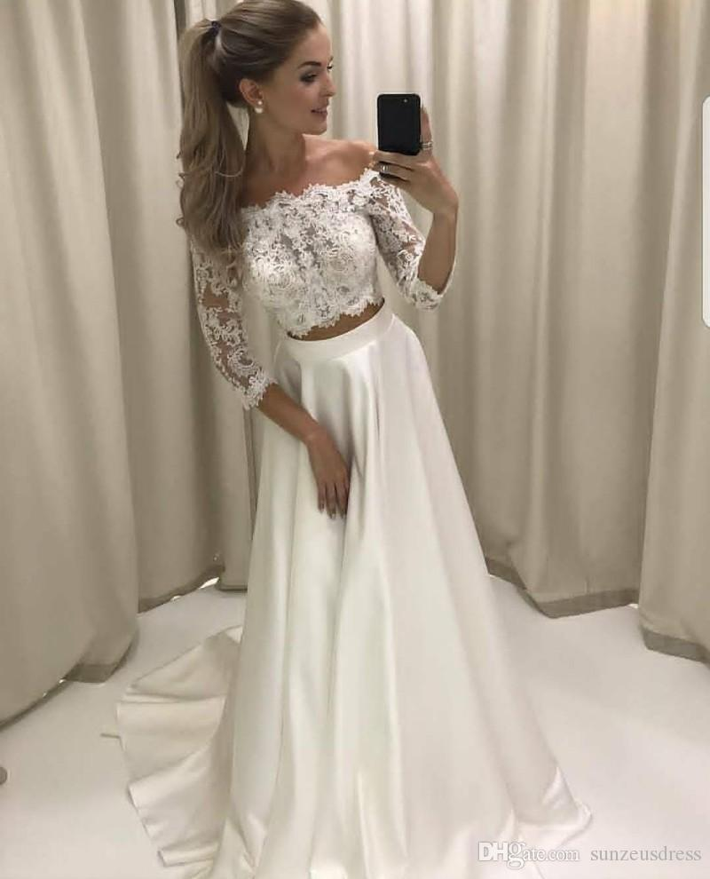 Fancy Two Piece Long Sleeves Hi-Low Organza Wedding Dress Lace Top ...