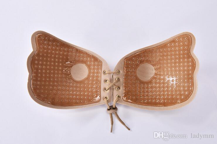 Push Up Butterfly Wing Soutien-gorge Invisible Silicon Adhensive Bra Lace Up Robe De Mariage Soutien-gorge Grande Taille Sans Bretelles Freebra Livraison gratuite