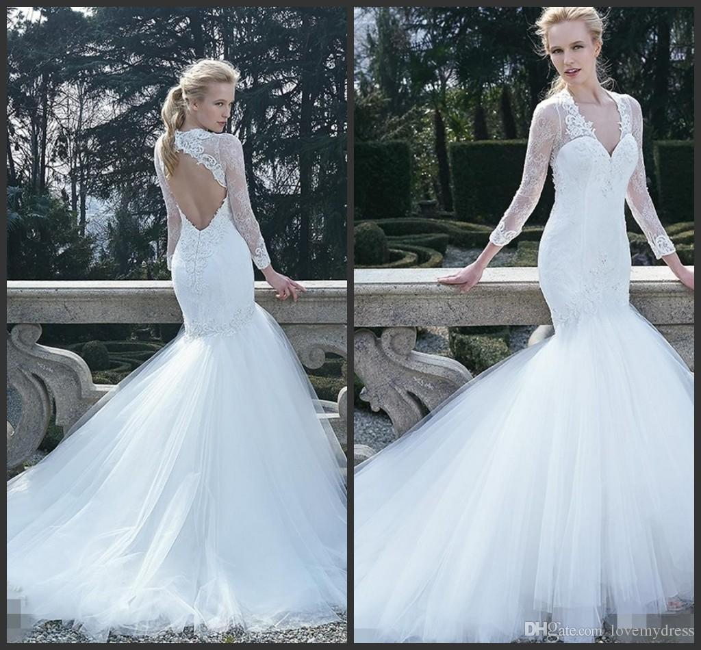 Count Train Open Back Wedding Dress Bridal