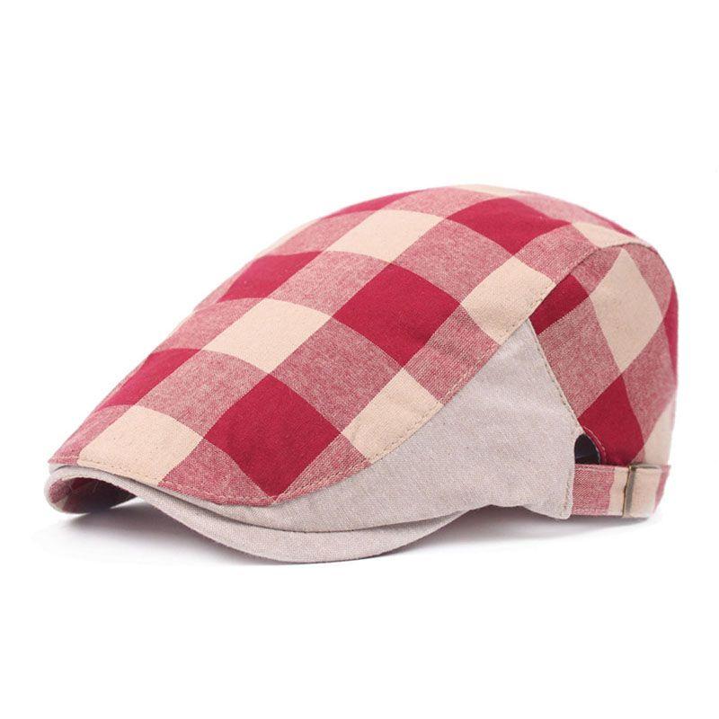 c8658091cf95d 2019 Men Women Buckle Golf Hunting Cabbie Driving Hat Cotton Plaid Striped  Flat Peaked Ivy Irish Newsboy Cap From Dxyuan824
