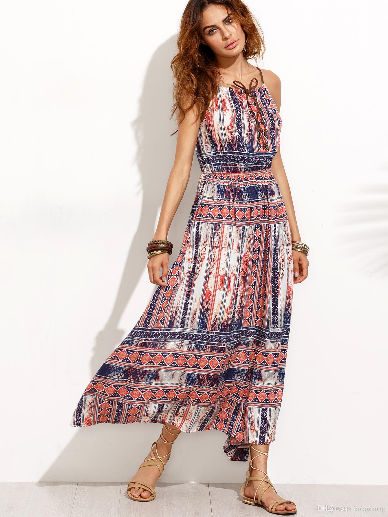 Hot Sale Print Waist Dress Skirt Holiday Beach Bohemian Wind Dress ...