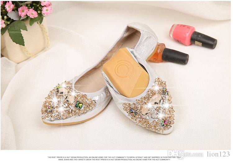 9e16f69e6a5ddb Fashion Comfortable Soft Outsole Flower Rhinestone Shallow Mouth ...