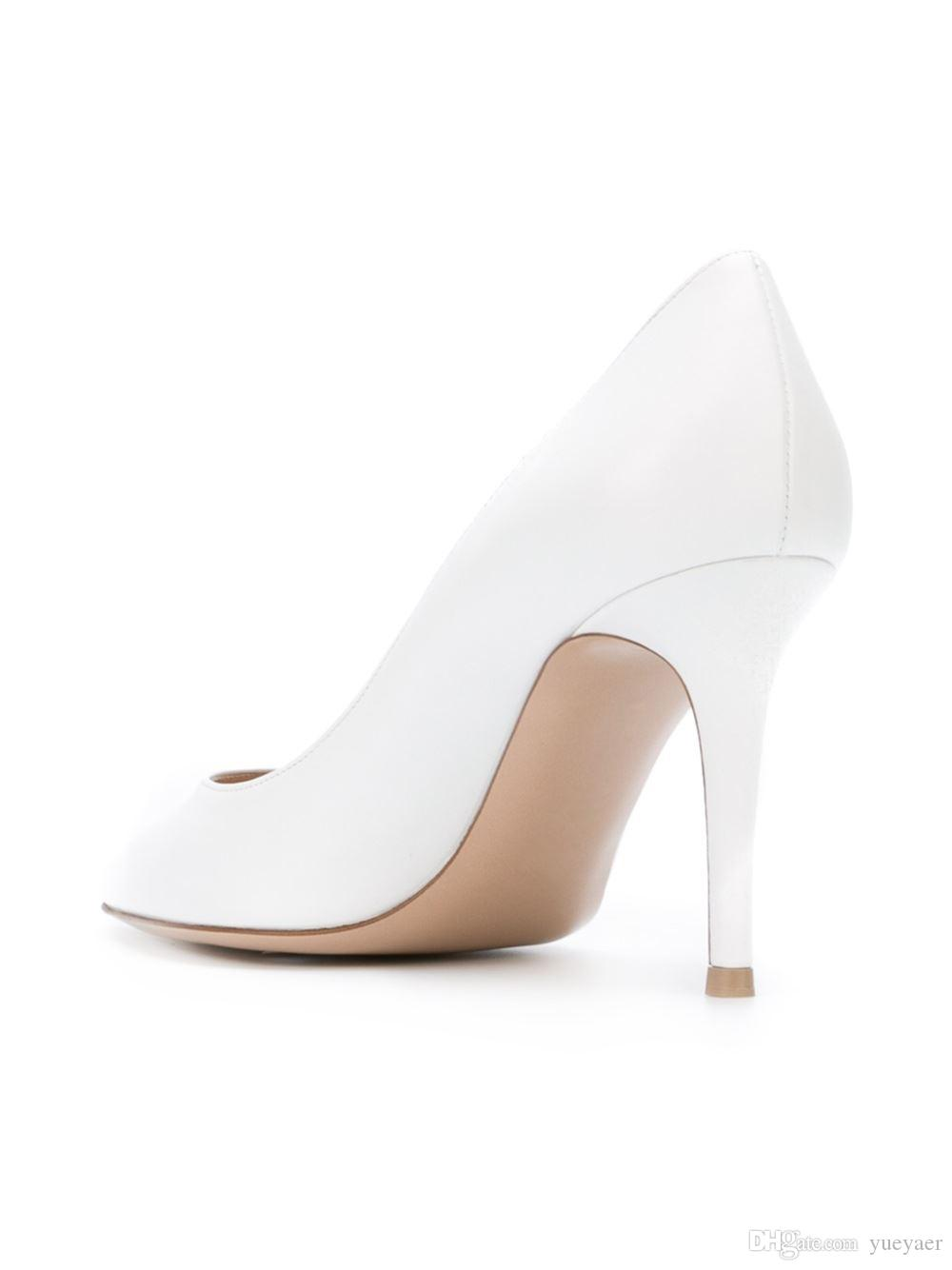 Zandina Handmade Moda 8 cm Bombas de Salto Alto Estilo Simples Slip-on Pontudo Festa de Casamento Stiletto Sapatos de Casamento Branco-camurça K331