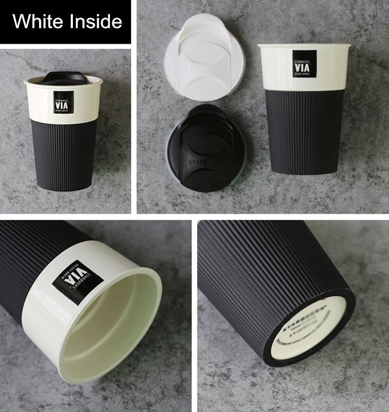 350ml 세라믹 컵 커피 머그잔과 뚜껑이있는 우유 크리 에이 티브 커플 컵 Xicara Caneca