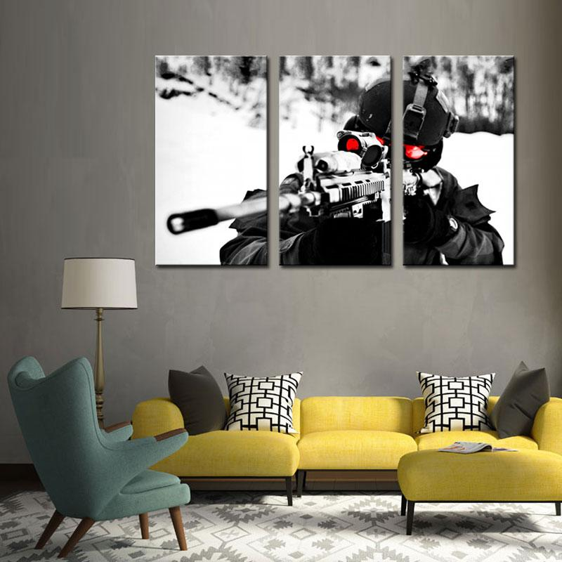 3 Picture Wall Art Painting Sniper Aim Military Pictures Printed On on mid century modern wall design, inspirational wall design, curtain wall design, handmade wall design, decorating idea wall design, exterior home wall design, rustic log cabin wall design, quilting wall design, modern interior wall design,