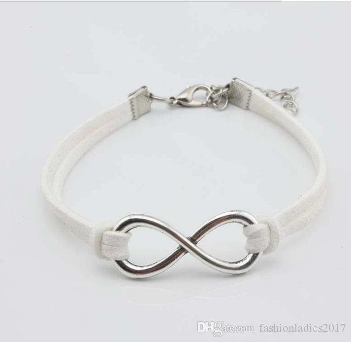 i otto 8 bracciale Infinity otto bracciale bangle in argento placcato gioielli bracciale in vera pelle uomo donna