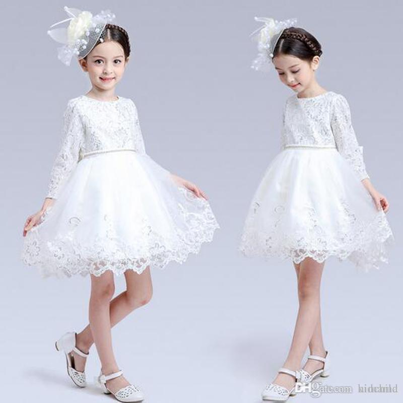d0c20a05 Compre Vestidos De Encaje Blanco De Manga Larga Para Niñas De Flor Primer Vestido  De Comunión Vestidos De Princesa TUTU Para Niños Envío Gratuito A $49.27 ...