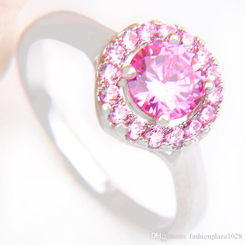 1 Thanksgive Gift Round Full Shine Pink Cubic Zirconia 925 Sterling
