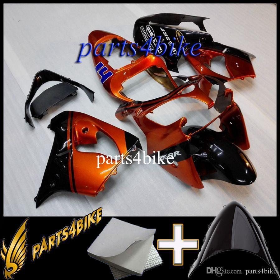 Aftermarket Plastic ABS Fairing for Kawasaki ZX9R 02 03 ZX-9R 2002 2003 02-03 orange black Body Kit motorcycle panels