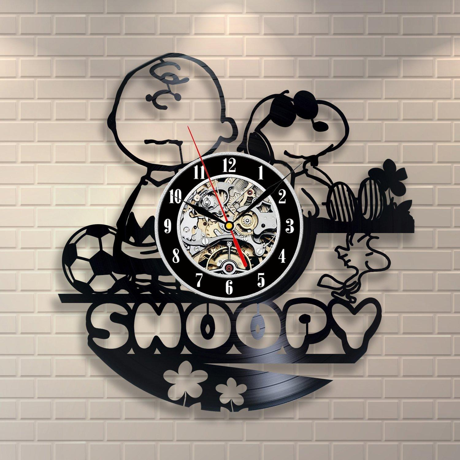 Snoopy Vintage Office Decor Vinyl Record Wall Clock Wedding