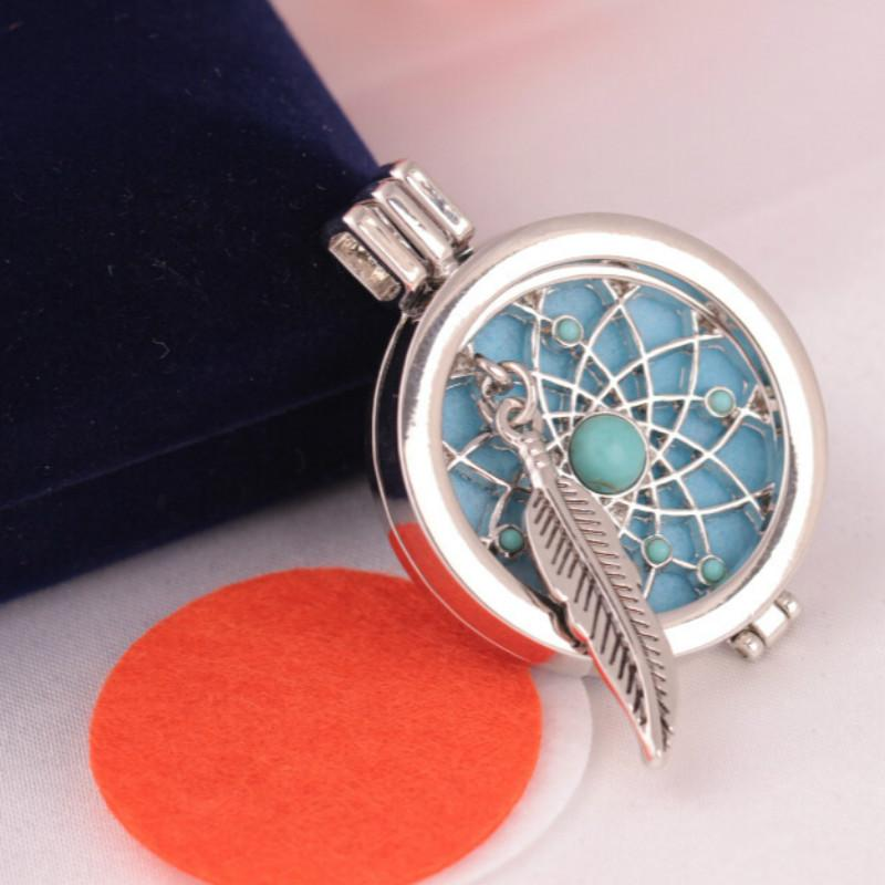 Locket Collane Feather Turquoise Aromatherapy Diffusore Collane Diy Pendente Del Profumo Moda Olio Essenziale Diffusore Armadietti Pendenti
