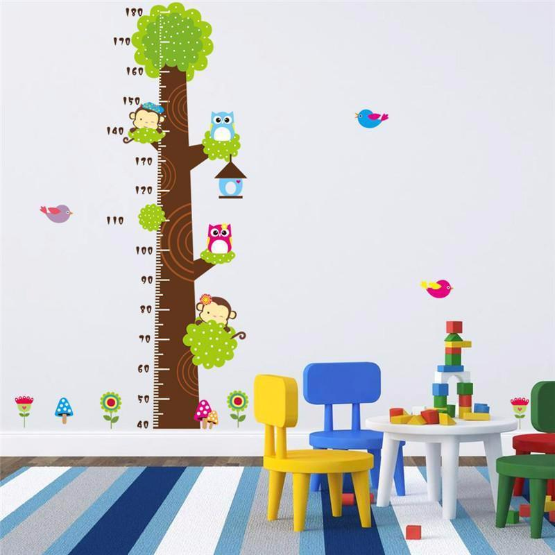 Wall Decoration Stickers kids height chart wall sticker home decor cartoon owl tree monkey