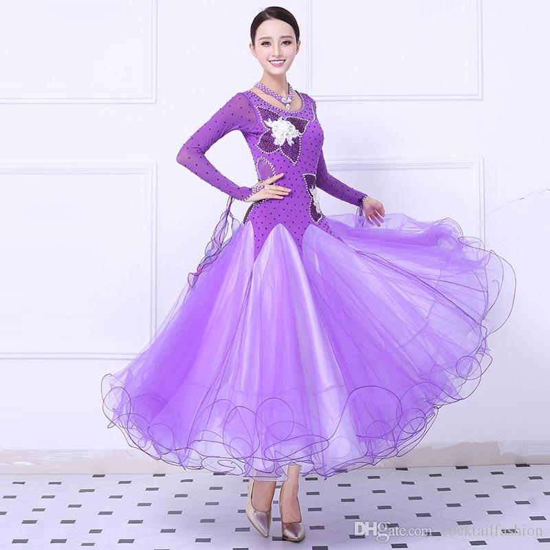 e41875023f 2019 Women S Ballroom Waltz Dance Dress Purple High Quality Custom Made  Tango Flamenco Competition Skirt Lady Ballroom Dresses From  Cocktailfashion