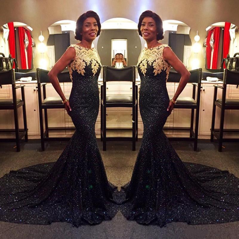 da69507dc441 2018 Sparkly Black Sequin vestidos de noche con el cordón de oro de sirena  vestido de baile de fin de curso por encargo del tren de barrido largo ...
