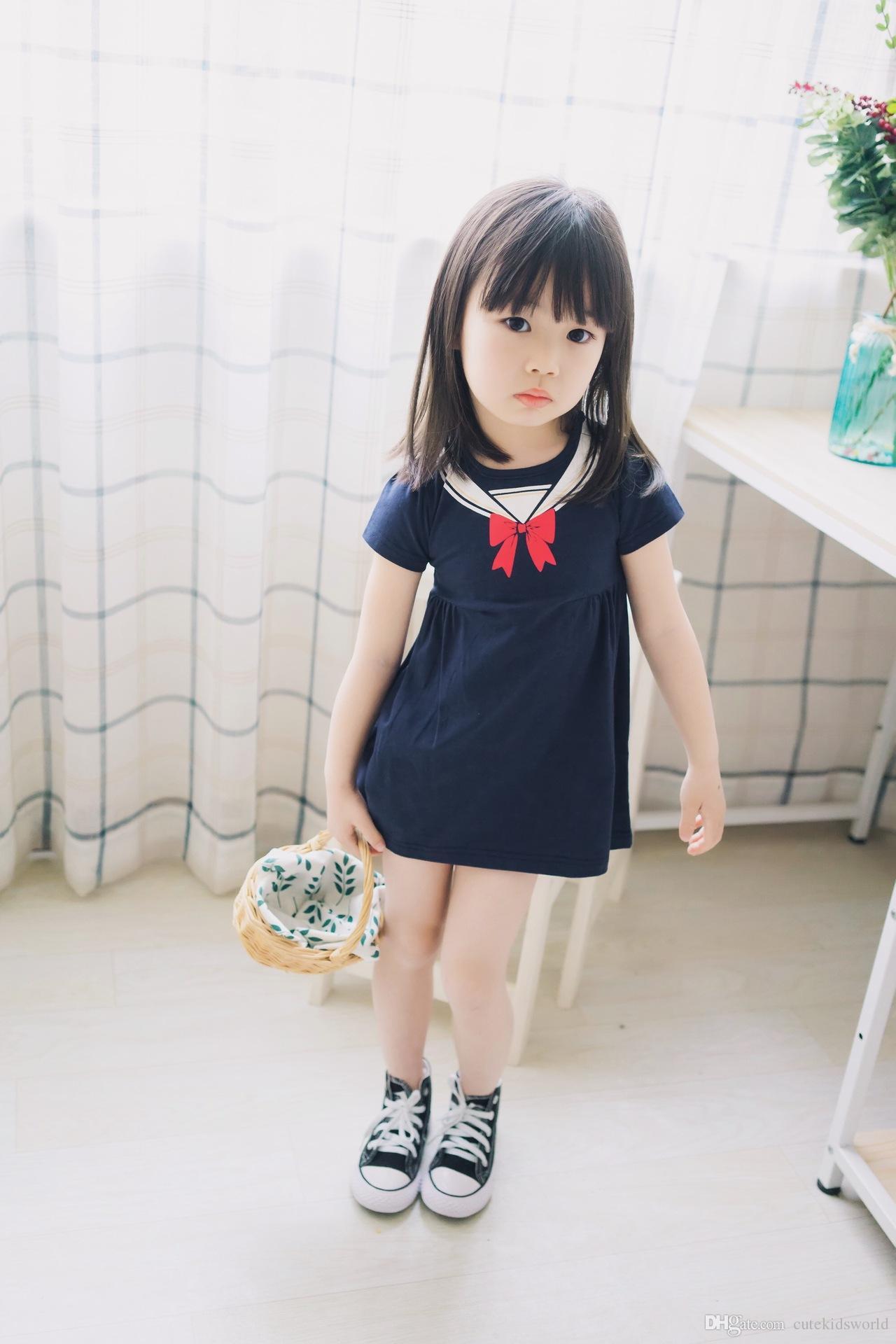 2018 Summer Girls Dress 2017 Korean Female Baby Bow Navy