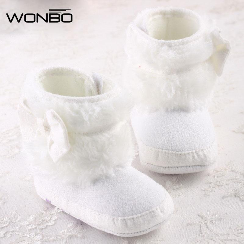 Wholesale- Newborn Baby Girl Bowknot Fleece Snow Boots Booties Kids Princess White Winter Shoes