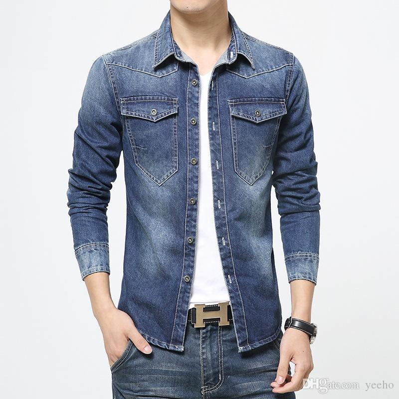 d65db9ee33 2017 New Autumn Fashion Brand Men Jeans Shirt Solid Color Slim Fit Long  Sleeve Denim Shirt Casual Men Shirt Social Plus Size 5XL YH-072 Men s  Clothing Men s ...