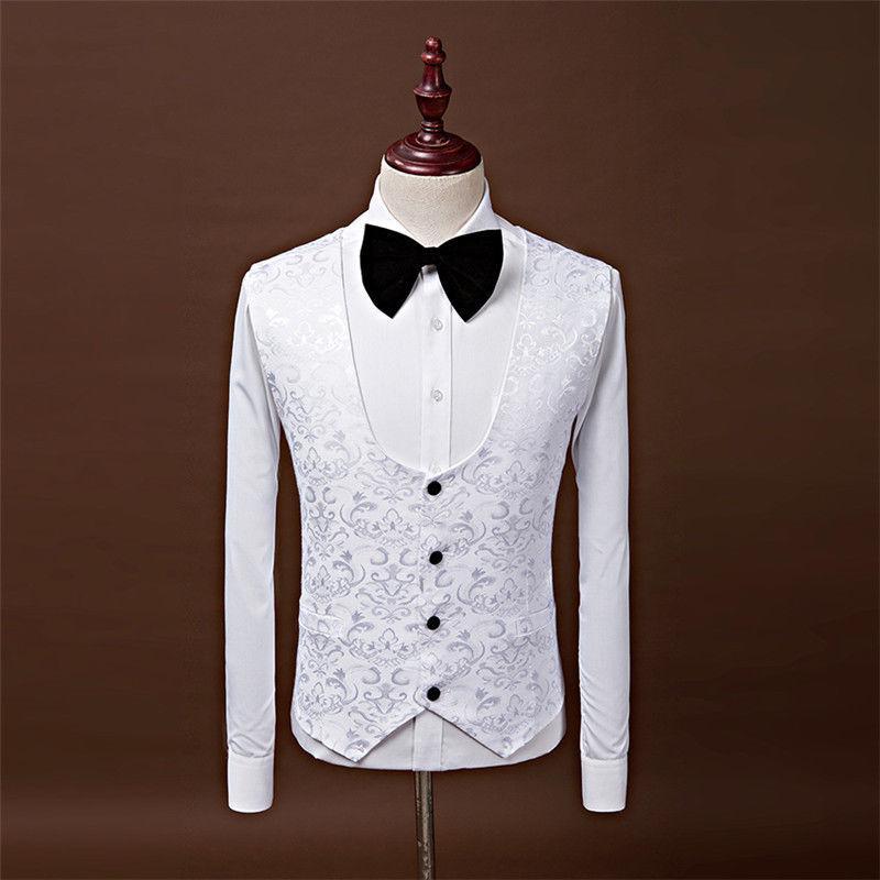 Trajes de boda Formal de Borgoña para hombres Jacquard de 3 piezas padrino de boda El mejor hombre de Esmoquin Traje de banquete de corte blanco