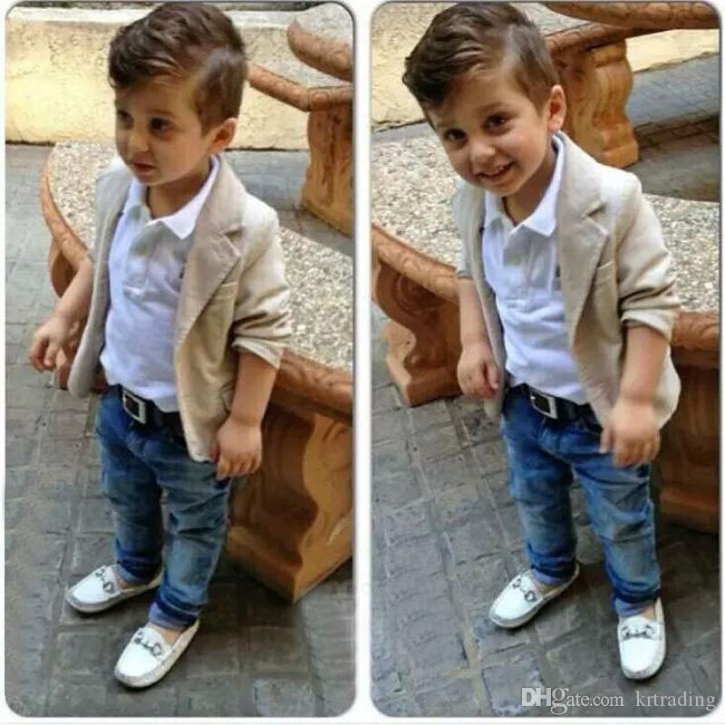 f305e8d00 2019 Little Gentleman Casual Suits Blazer Long Sleeve T Shirt Jeans  Trousers Children Boys Casual Outfits 7sizes Brothers Clothes For 2 8T From  Krtrading, ...