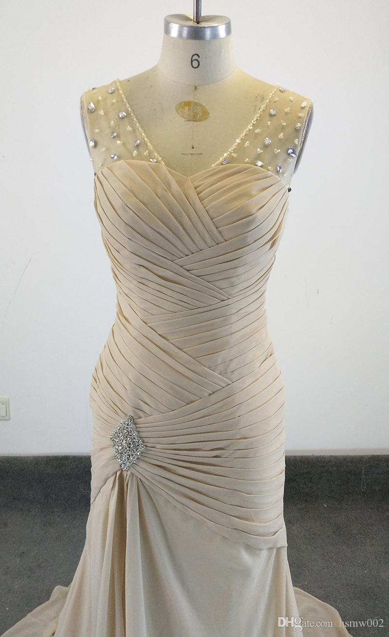 Newest Sexy Real Image Mermaid Elegant Champagne Evening Dresses Sexy Crystal Crew Cheap Sweep Train Party Prom Dresses