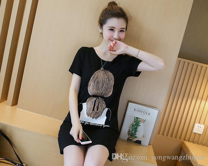 Summer clothes girls long short sleeve T-shirt dress the new spring 2017 han edition relaxed joker coat