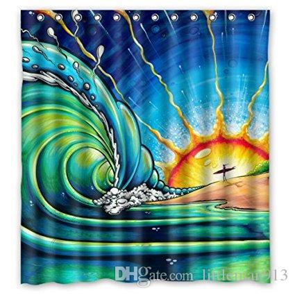 2018 Sun Surf Art Wave Shower Personalized Custom 66x72 Inch Curtain Bath MORE SIZES GOOD GIFT From Littleman913 402