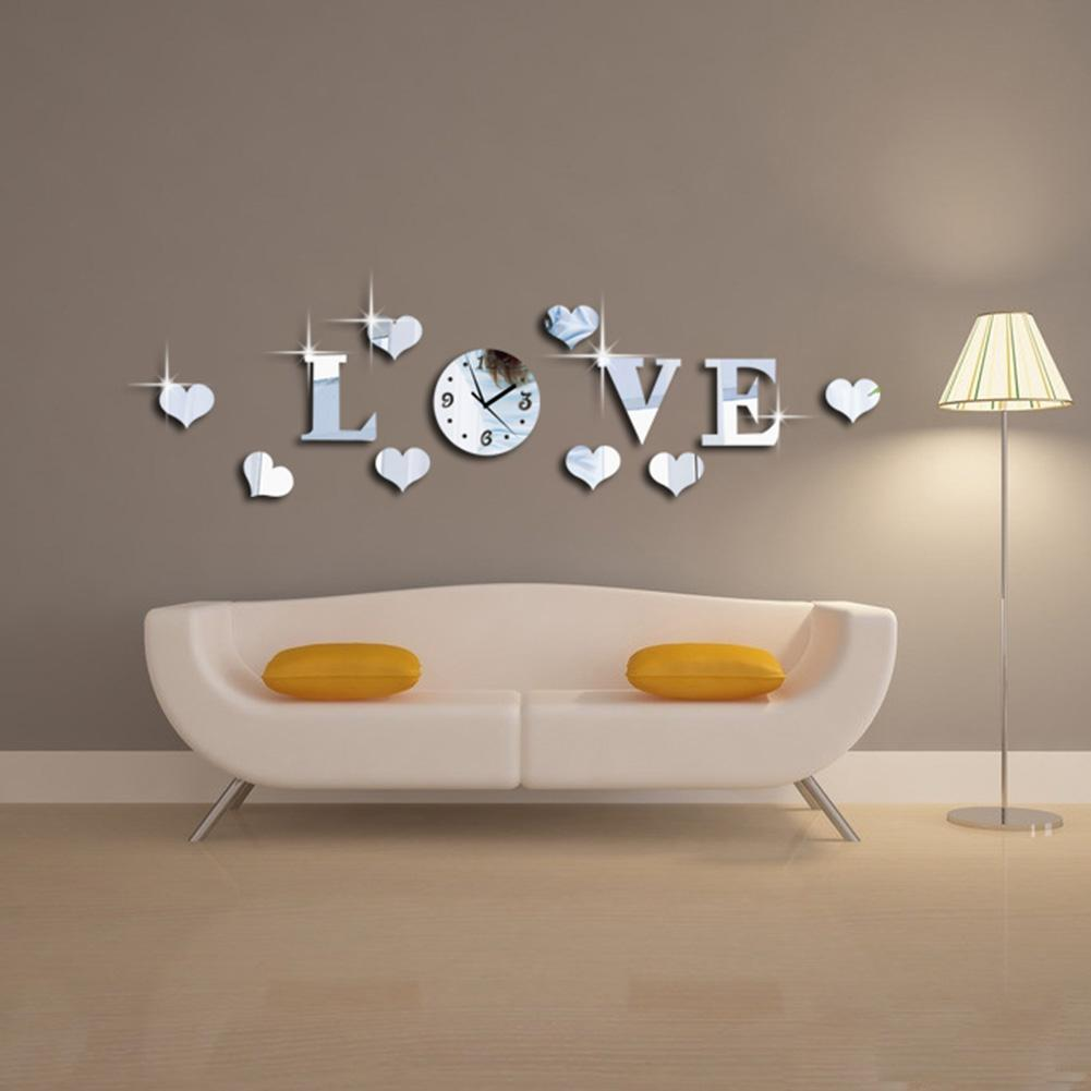 New creative acrylic mirror effect love wall sticker clock see larger image amipublicfo Choice Image