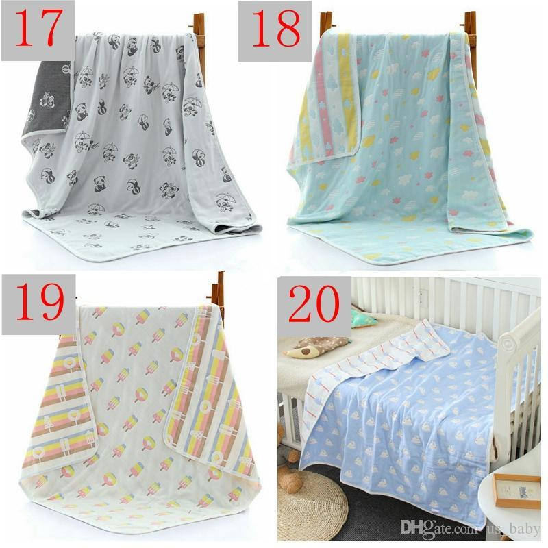 Newborn 6 Layers blankets Infant Cartoon INS Play Mat Baby Swaddle Winter Baby Cotton Bedding Towels Newborn Receiving Blanket
