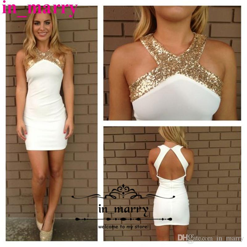 Sexy White Gold Sequins Short Cocktail Party Dresses For Women 2017 ...