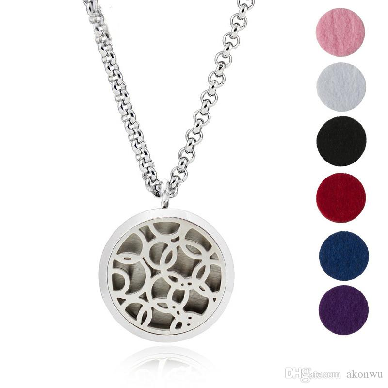 """Aromatherapy Essential Oil Diffuser Necklace 316L Surgical Grade Stainless Steel Living Locket With 24"""" Chain and 6Pads"""