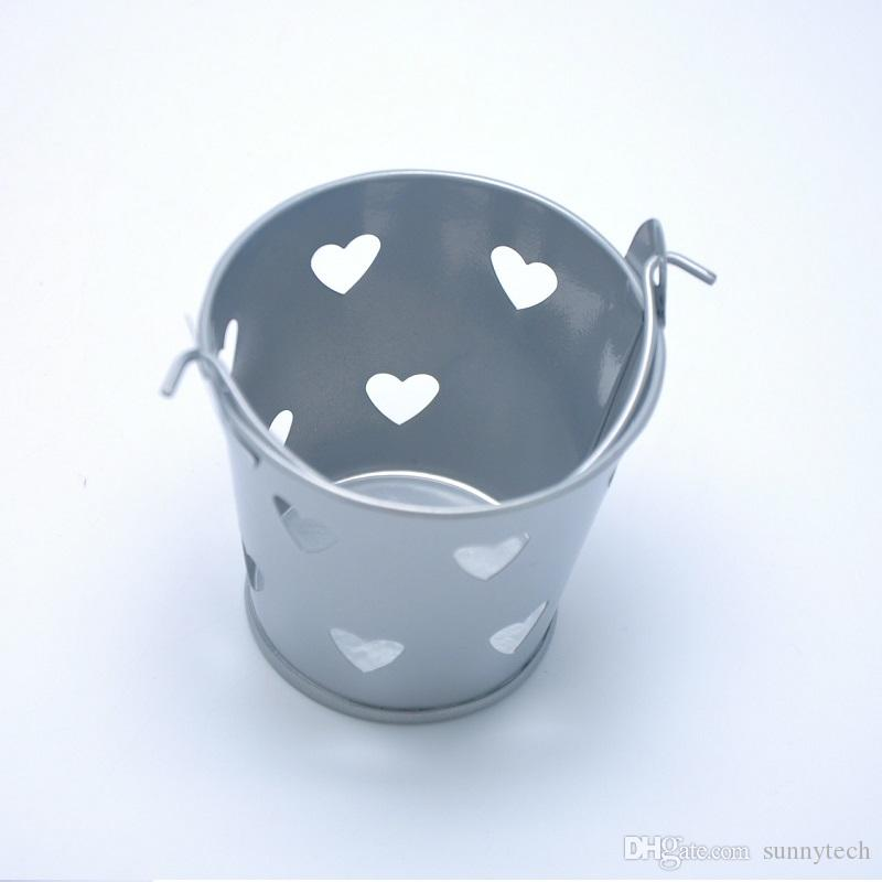 Multi Color Mini Tin Candy Buckets With Hollow Hearts Wedding Pails Metal Bucket Sugar Box Party Favor Decoration ZA1379