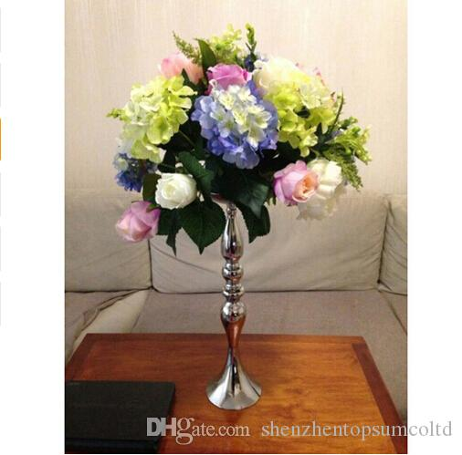 Portacandele in metallo argento 50cm / 20 '' stand fiori vaso candeliere come strada piombo candelabri centro pezzi decorazione di cerimonia nuziale