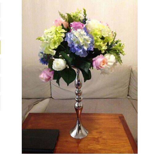 Prata Metal Castiçais 50 cm / 20 '' Suporte de Flores Vaso Castiçal Como Chumbo Candelabros Centro de Centro de Decoração Do Casamento