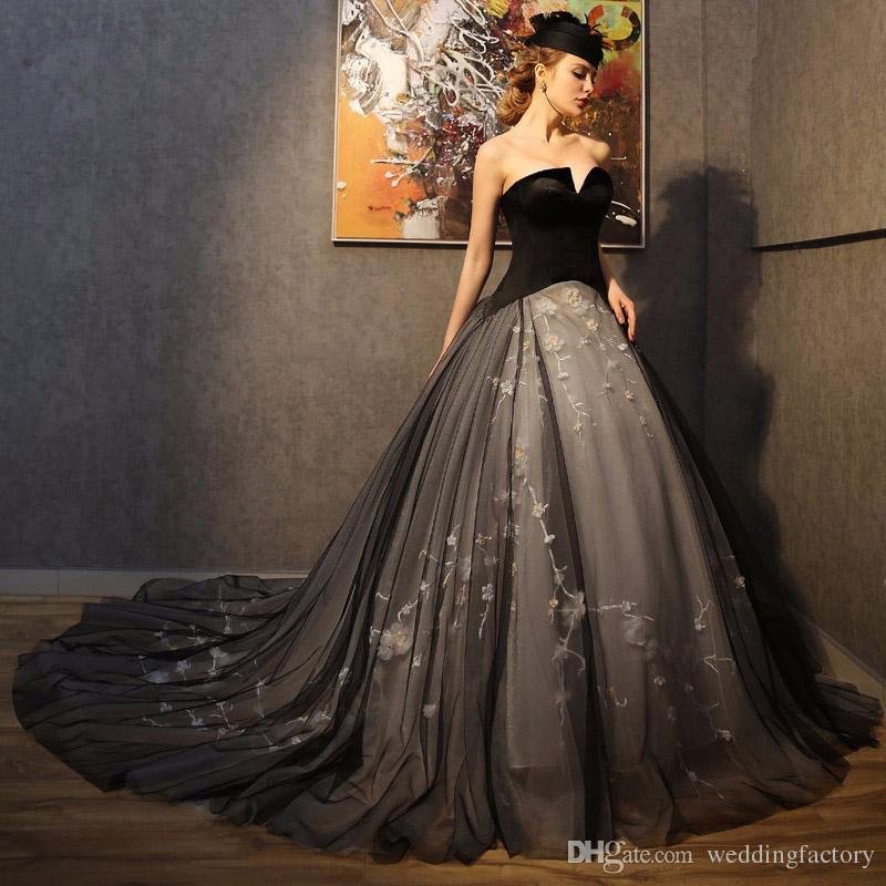 compre vestidos de novia gótico color personalizado luz negra