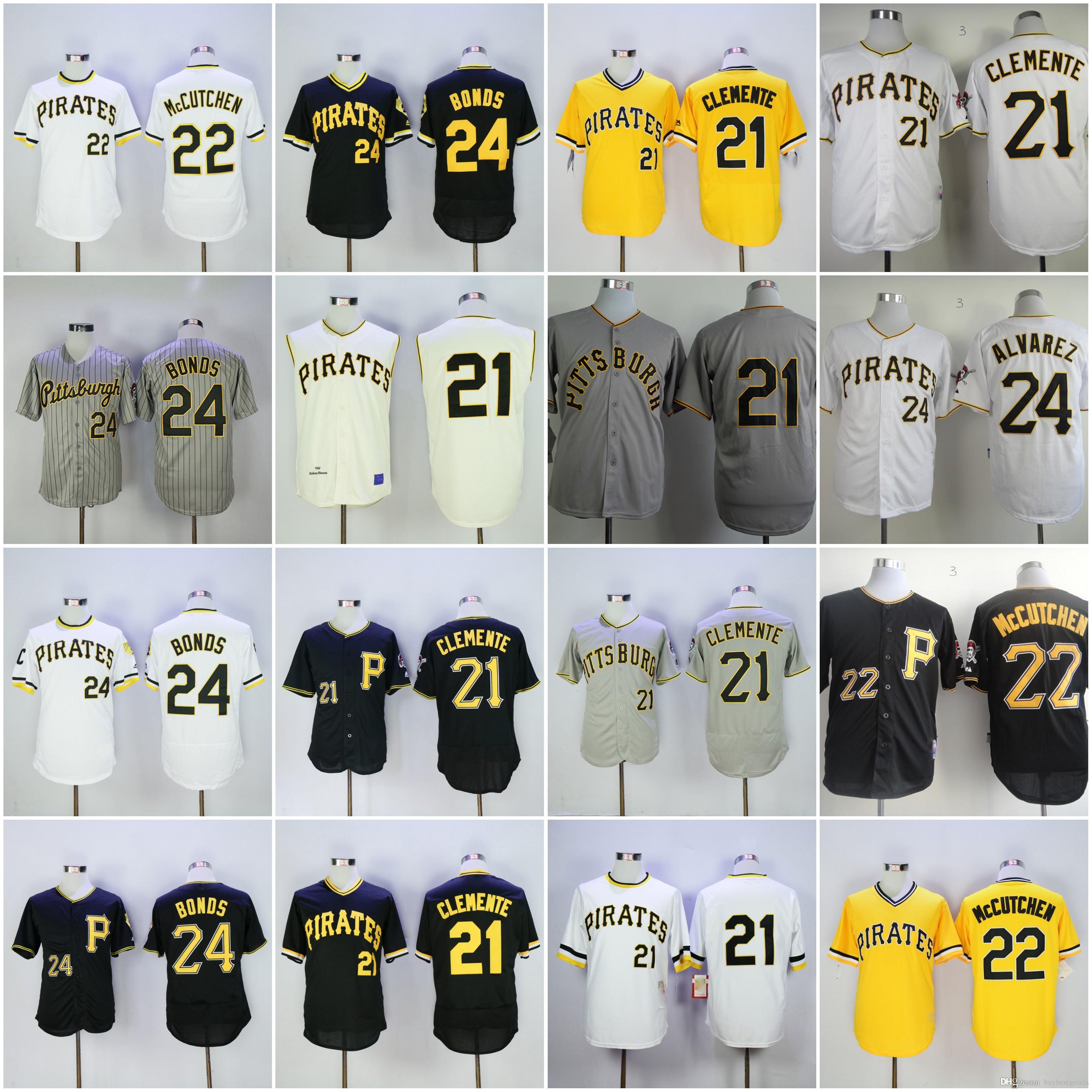 181c756ff 2017 21 Roberto Clemente Jersey Mens Pittsburgh Pirates 24 Barry Bonds 22  Andrew Mccutchen Flexbase Cooperstown ...