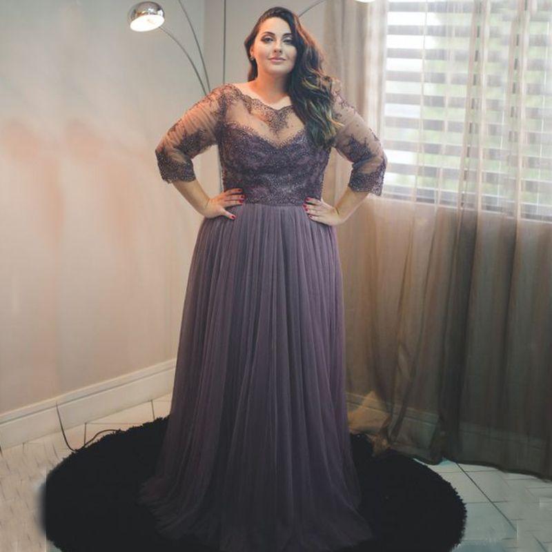 Plus Size Dresses Elegant Long Formal Evening Dress Prom Gowns Sheer Bateau  Neck 3/4 Illusion Sleeves Custom Made