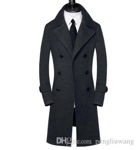 2bc3eb376ff Black Casual Double Breasted Woolen Coat Men Trench Coats Overcoat Mens  Cashmere Coat Casaco Masculino Inverno Erkek England 75757ghjghju UK 2019  From ...