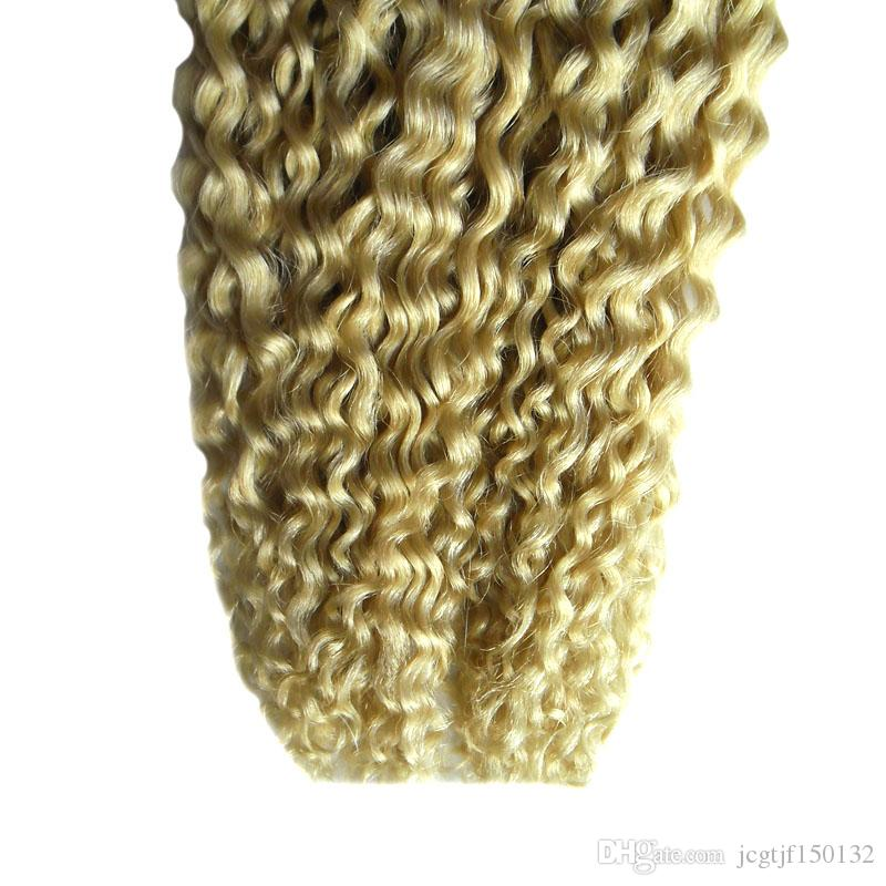 Brazilian virgin tape in hair extensions remy 100g curly tape hair extensions straight skin weft seamless hair extensions