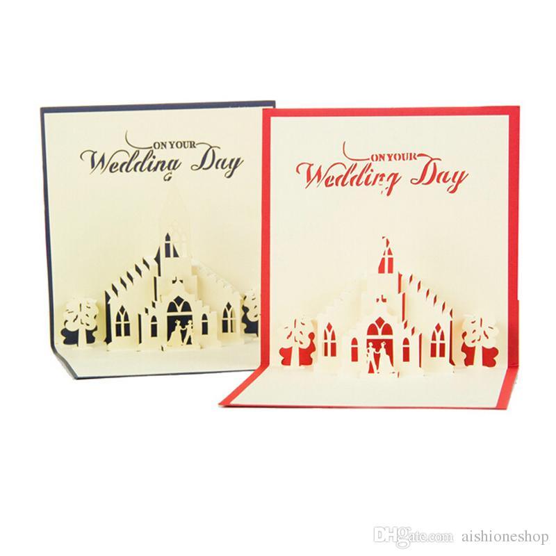 Romantic Wedding Greeting Cards 3d Design Wedding Church Shape