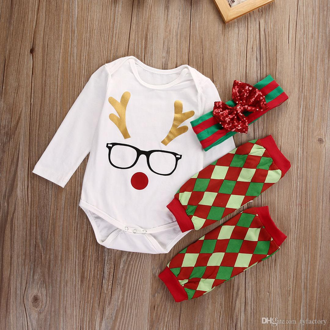 Baby Clothing Christmas Gift Scottish Grid Leg Warmer+Romper+Headband Suit Glasses Lovely Rudolph Reindeer Kid Boy Girl Toddler 0-24M