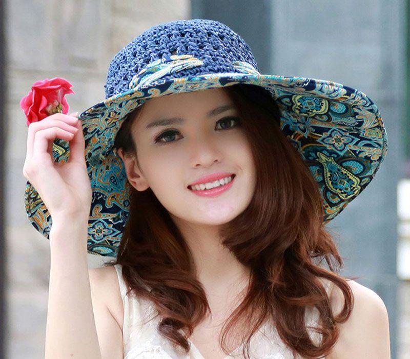 Wholesale Stylish 2017 Summer Floppy Anti UV Sun Hats For Women Foldable  Floppy Sun Cap Wide Brim Hat Beach Headwear For Lady Trucker Hats Boonie Hat  From ... b14755bf12c